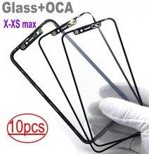 10pcs 도매 아이폰 X XS XR XS 최대 유리 + OCA 함께 LCD 콜드 프레스 유리
