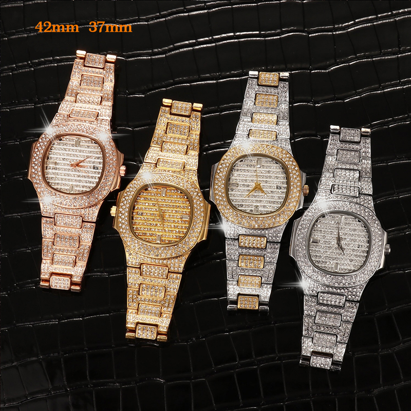 Full Bling Diamonds Watch Men ICED-OUT Hip Hop Womens Quartz Watches Gold Stainless Steel Relogio Reloj Hombre Unisex Clock Hour