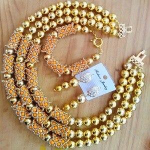 Image 2 - Dudo כתום מדהים אפריקאי חרוזים תכשיטי סטי קריסטל שרשרת סט חתונה ניגרי כלה 3 תמונות סטי משלוח חינם 2018 זהב