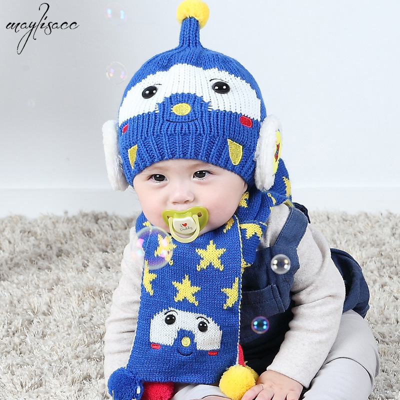 Maylisacc New Arrival 0-3 Years Old Girls Boys Infant Infant Hat Scarf 2 Pcs Sets Baby Kids Winter Bolstered Ear Hat Beanie Set