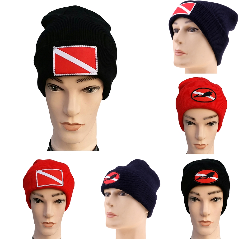 Dive Flag / Diver Down Scuba Diving Surf Kayak Sports Knit Beanie With Dive Flag/diver Down Design Hat Cap