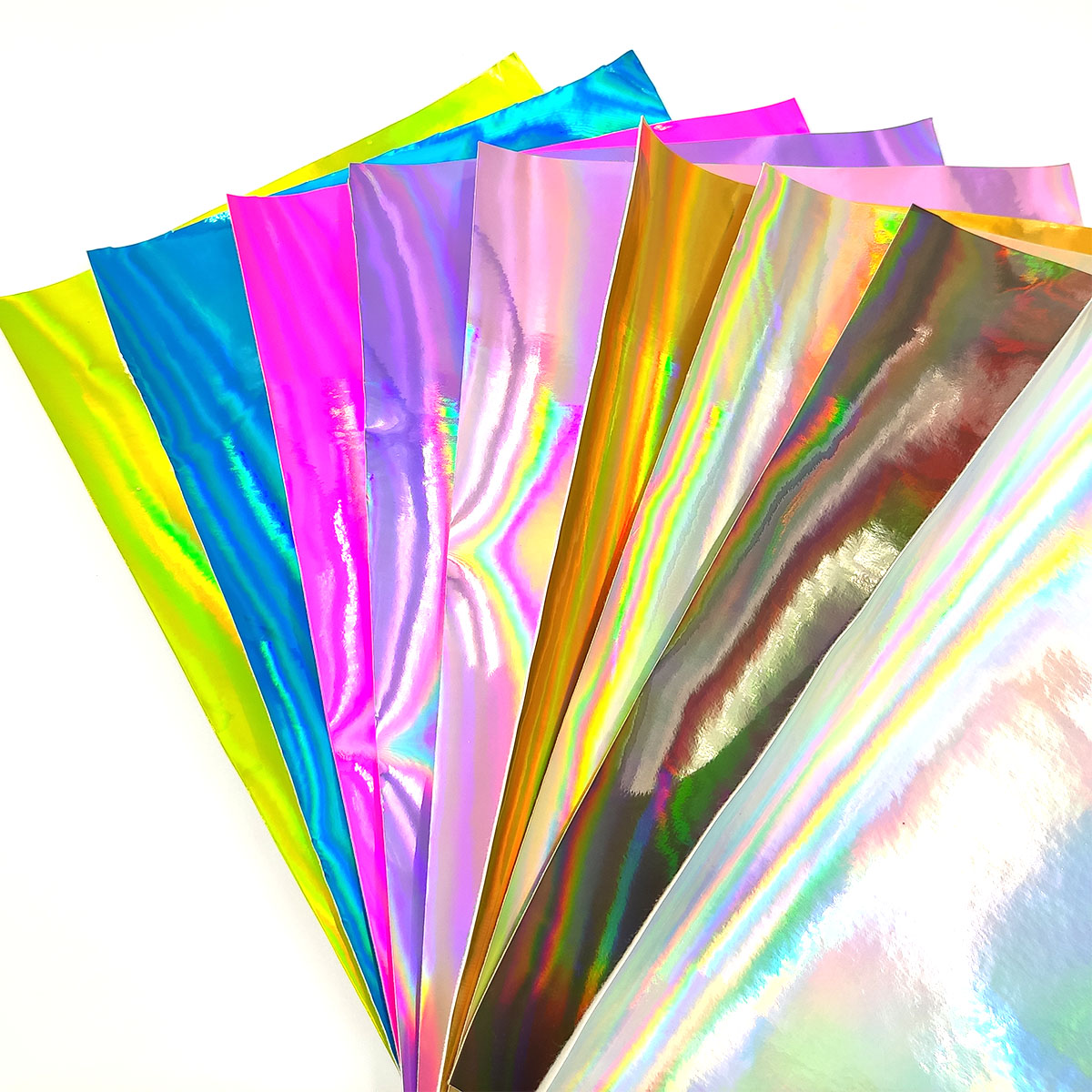 Holographic Faux Leather Fabric Sheets Craft Leather for DIY Hair Bows Headband Earrings A4 Size 6 Colors