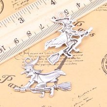 8pcs Charms witch on broomstick halloween 36x34mm Antique Pendants,Vintage Tibetan Silver Jewelry,DIY for bracelet necklace
