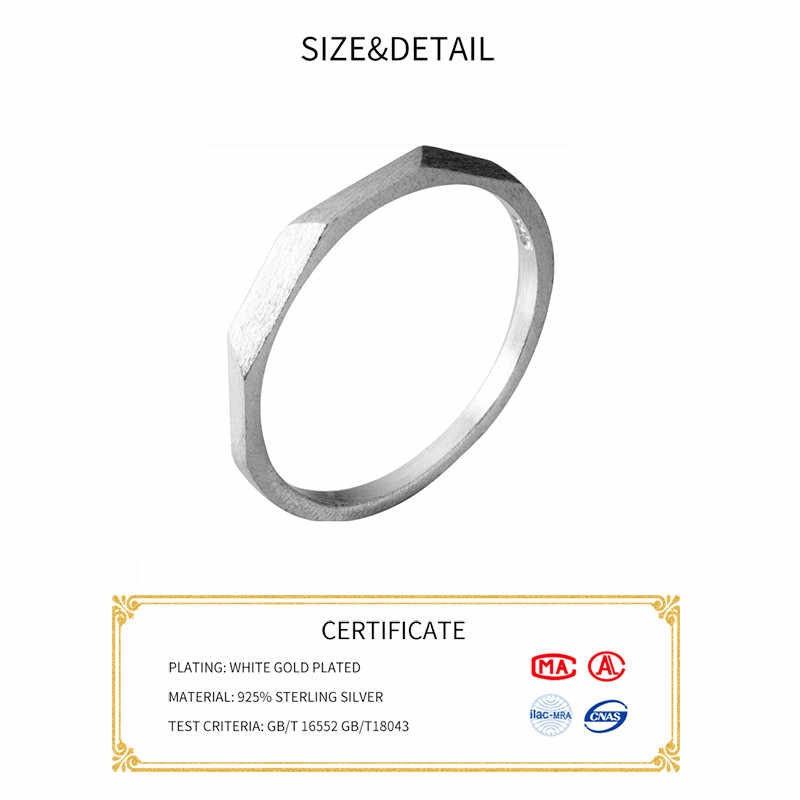 INZATT จริง 925 เงินสเตอร์ลิงรูปทรงเรขาคณิตเปิดแหวนสำหรับผู้หญิงเครื่องประดับอินเทรนด์ Minimalist อุปกรณ์เสริม 2019 ของขวัญ