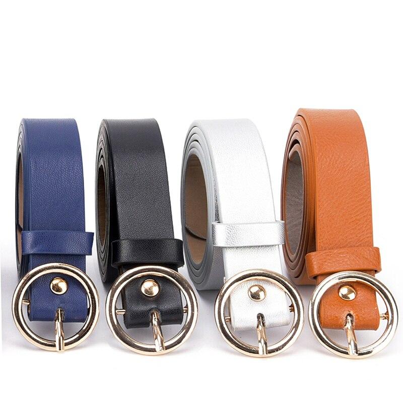 Round Metal Circle Belt Female  PU Leather Waist Belts For Women Jeans Pants    Black White