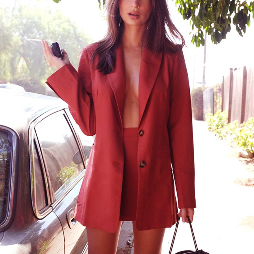Two Piece Set Casual Women Blazer Suit Long Sleeve Single-breasted Blazer And Skirt Pencil Suits Office Autumn Fashion OL Outfit