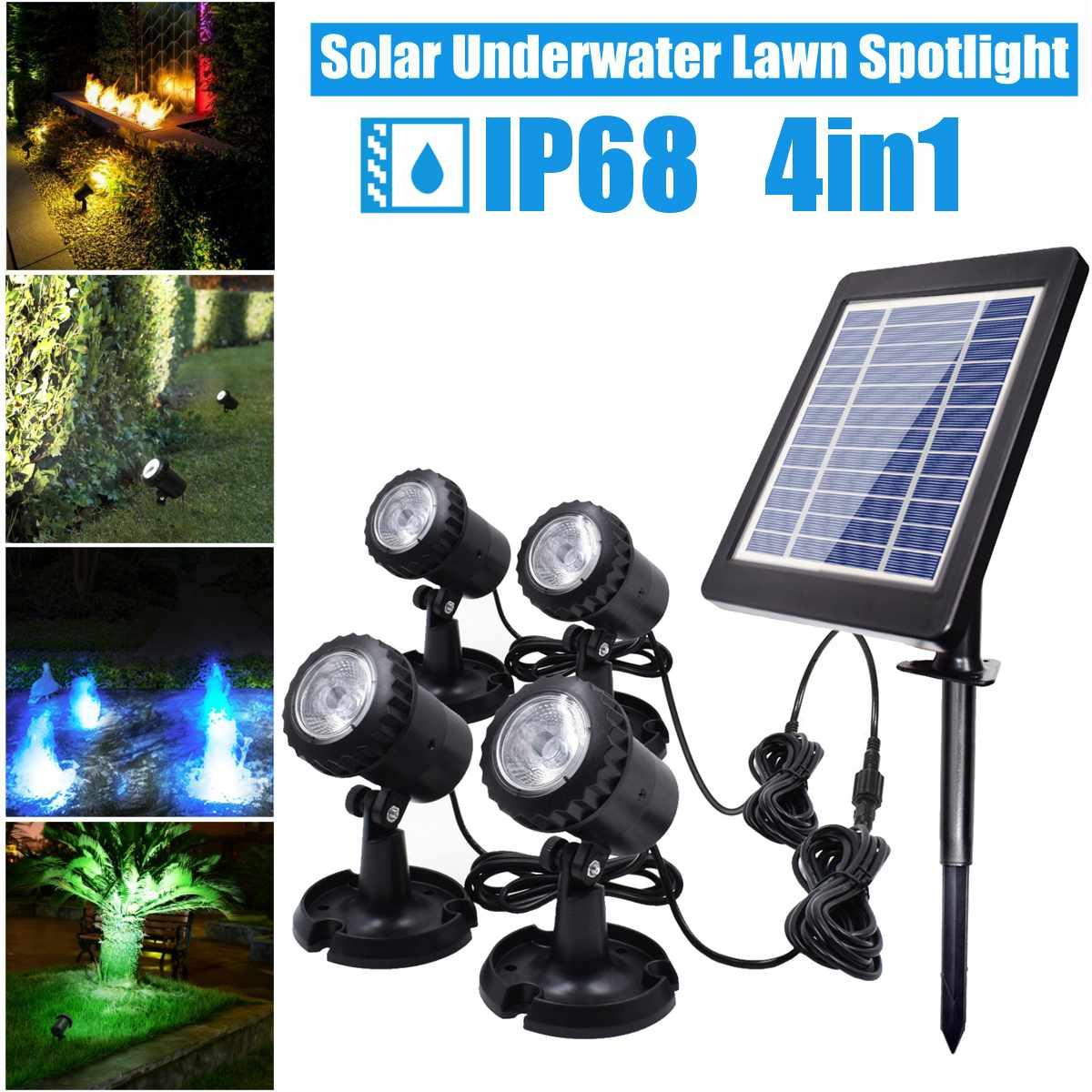 Solar Light 1 In 4 Waterproof IP68 Underwater Fountain Pond Lights LED Spotlights For Outdoor Amphibious Lawn Pool Garden