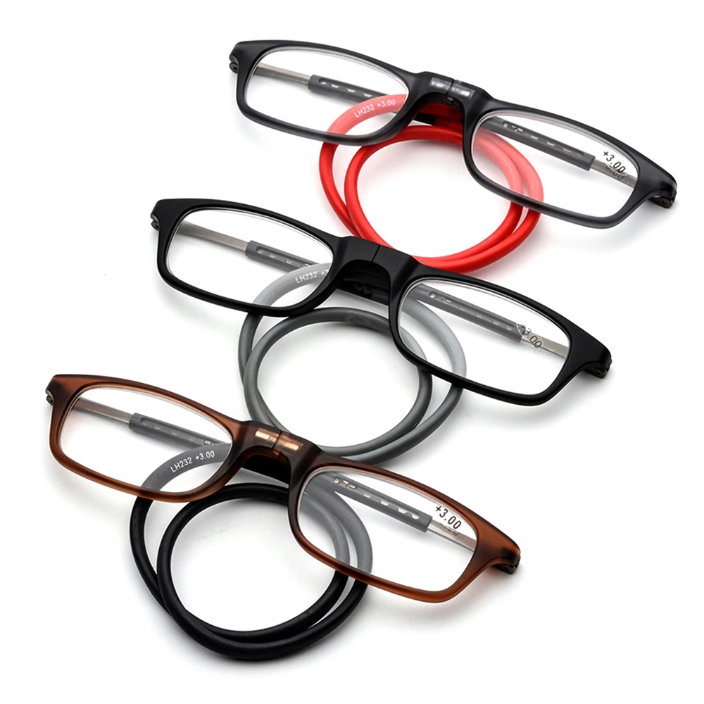 Magnet reading glasses with adjustable neck-mounted magnetic reading glasses super light TR90 tough and durable