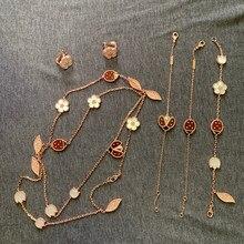 Bijoux de marque en argent Sterling 925 pur pour femmes, ensemble de bijoux de mariage en nacre coccinelle, boucles d'oreilles, collier et Bracelet de luxe