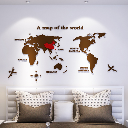 <font><b>3D</b></font> <font><b>World</b></font> <font><b>Map</b></font> <font><b>Acrylic</b></font> Decals Adhesive <font><b>Wall</b></font> <font><b>Stickers</b></font> Mural Home Decor kids Boy Bedroom Nursery Birthday Christmas Gift image