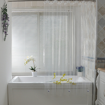 Cortina de ducha transparente, impermeable, de plástico blanco, para baño, con forro,...