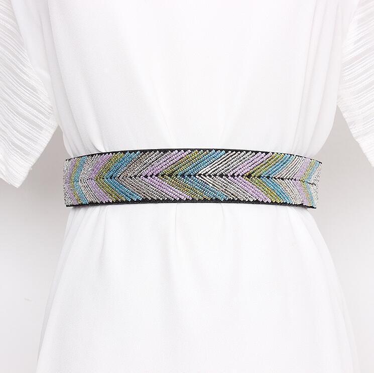 Women's Runway Fashion Beaded Elastic Cummerbunds Female Dress Corsets Waistband Belts Decoration Wide Belt R2849