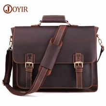 JOYIR 2020 Vintage Mens Genuine Leather Briefcase Crazy Horse Genuine Leather Messenger Male Laptop Bag Men Business Travel Bag