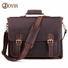 Винтажный Мужской портфель из натуральной кожи JOYIR 2020, сумка мессенджер из натуральной кожи Crazy Horse, мужская сумка для ноутбука, мужская деловая дорожная сумка