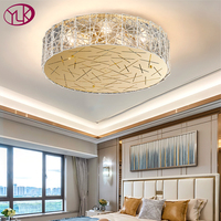 Youlaike round ceiling chandelier living room bedroom flush amount glass chandeliers lighting gold stainless steel home lamps