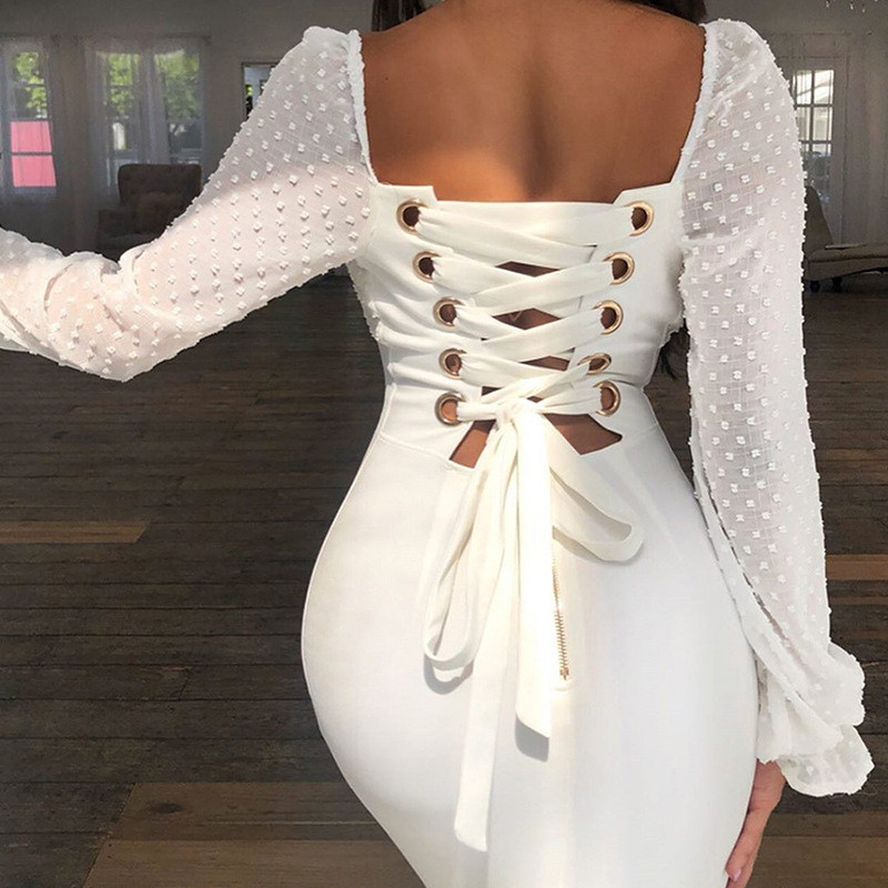 Echoine Lace Dress Sexy Women Flare Sleeve Office Lady Bandage Semi Transparent Street Vestido Elegant Party Evening Clothing in Dresses from Women 39 s Clothing