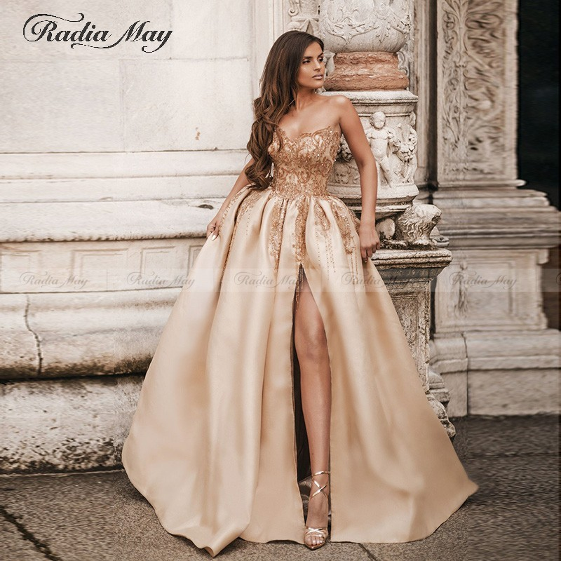 Champagne Gold Beading Tassel Long Arabic Evening Dress With Slit Sweetheart Sexy Engagement Dresses Dubai Formal Prom Gowns