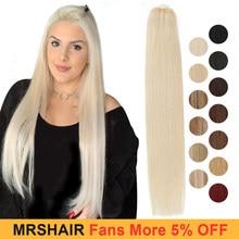 MRSHAIR – Extensions de cheveux 100% naturels, cheveux brésiliens Remy, lisses, blonds, 12 à 24 pouces, 100g, en lot, faites Machine
