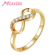MISSITA Vintage Gold Color Clear CZ Forever Love Rings for Women Wedding Finger Ring Gift Brand Fashion Jewelry anillos mujer brand design lock red heart ring for women vintage copper jewelry five star finger rings luxury brand fashion love jewelry