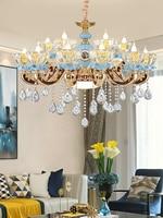 유럽 K9 크리스탈 럭셔리 LED 샹들리에 조명 아연 합금 거실 빌라 교수형 램프 세라믹 로비 침실 새로운 비품|샹들리에|   -