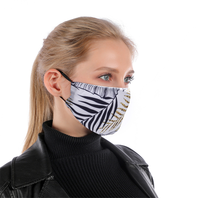 White Leaf Reusable Face mask With Filter Washable Mask Adjustable Straps Mouth Mask Windproof Anti Mouth-muffle Proof Flu Masks 1