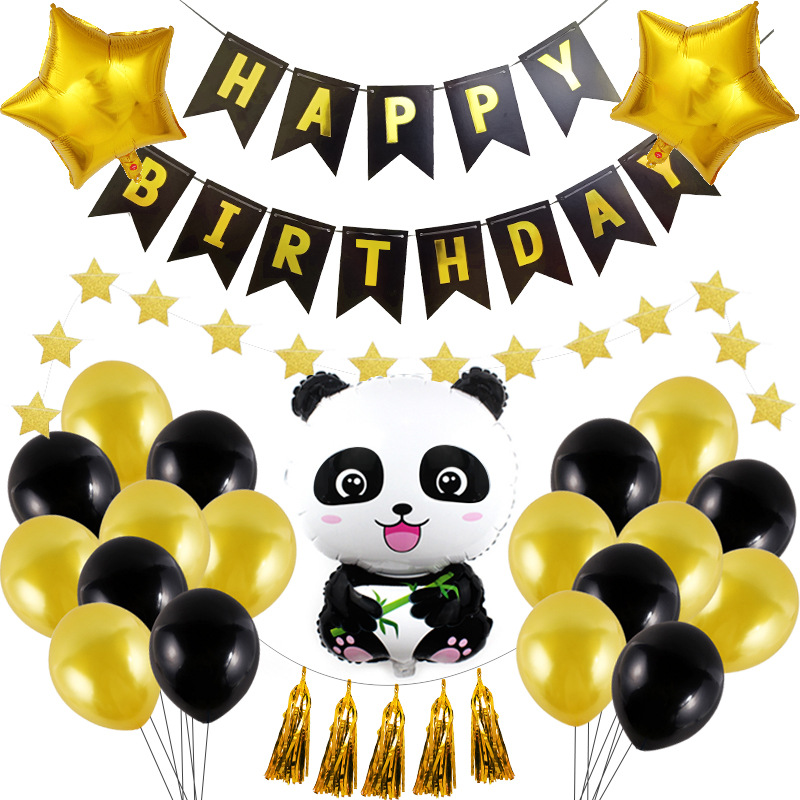 Panda Theme Party Decorations Supplies Children Birthday Party Baby Shower Disposable Tableware Set Balloon Banner Straws
