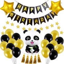 Тема Panda Партии Украшения Поставляет Дети День Рождения Душа Ребенка Посуда Набор Воздушный Шар Баннер Соломинки