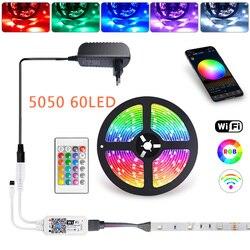 RGB 5050 60LED WiFi LED Strip Light for Room 5M 10M 15M Flexible Ribbon luces led light strip+WiFi Controller+Power Adapter EU