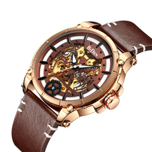 BIDEN Latest Clock 2019 Top Brand Fashion Automatic Mechanical Mens Watch Brown Leather Rose Gold Case Waterproof Wrist Watches