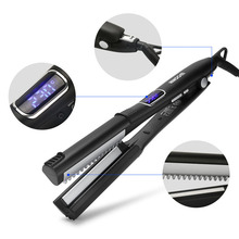 Professional 4 In 1 Straight Hair Curler Ceramic Heating Straightener Flat Iron