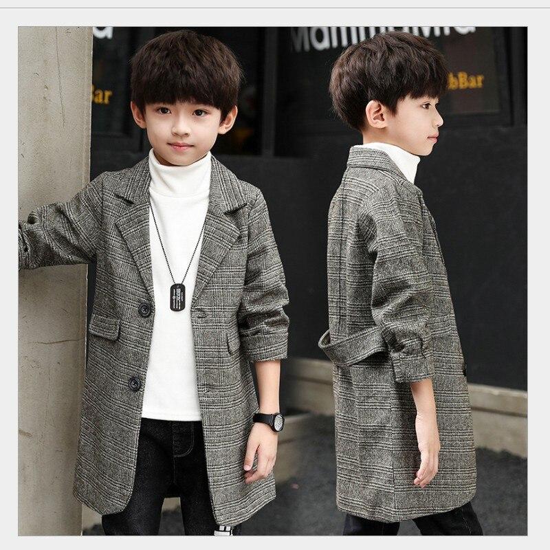 Veste coupe-vent pour enfants printemps automne garçons décontracté en laine costume manteau vêtements d'extérieur Style britannique adolescent enfants Long Trench Coat B350