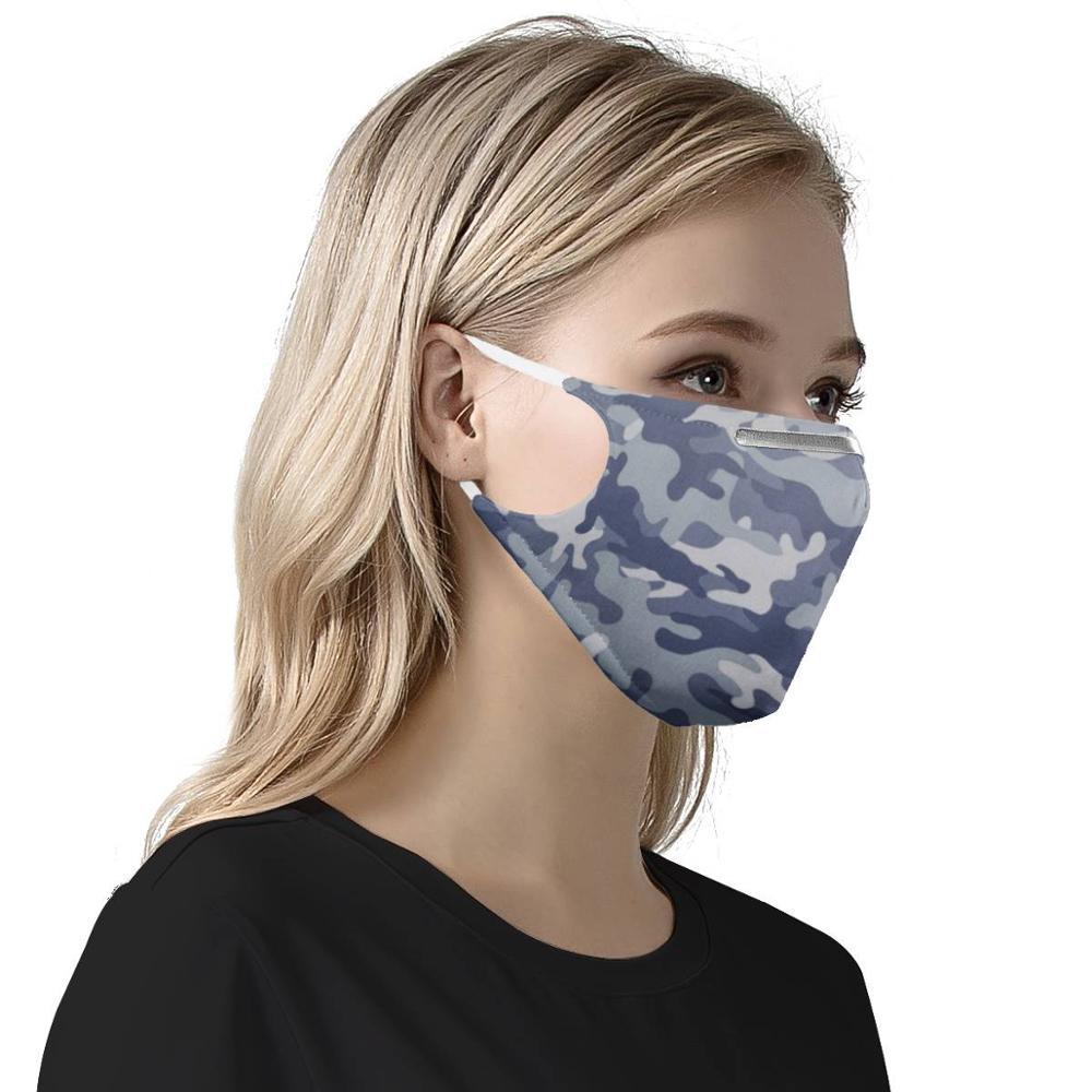 Disesuaikan Pola 4Pcs PM2.5 Filter Masker Kamuflase Biru Karbon Masukkan Wanita Pria Anti Debu Masker Reusable Masker Wajah masker