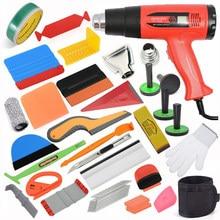 FOSHIO Window Tinting EU/US/AU Heat Gun Hot Air Gun Squeegee Vinyl Wrapping Tools Kit Carbon Fiber Wrap Scraper Car Accessories