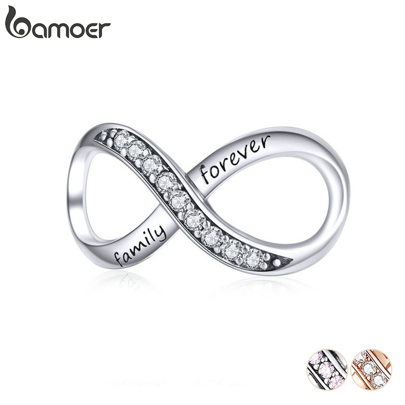 BAMOER Big Charms Real Sterling Silver 925 Infinity Family Forever Clear Crystal Charm for Original 925