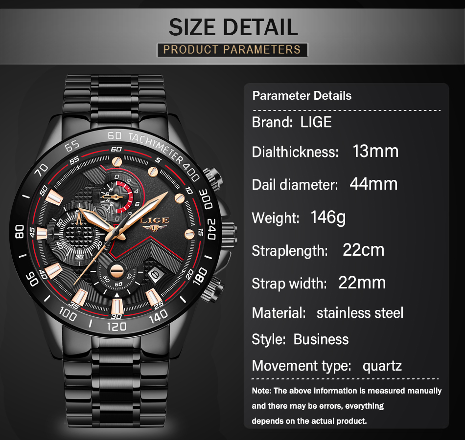 H97baea6960554c008f4c253bdc7f56a1g Relogio Masculino LIGE Chronograph Mens Watches Stainless Steel Waterproof Date Quartz Watch Men Business Classic Male Clock+box