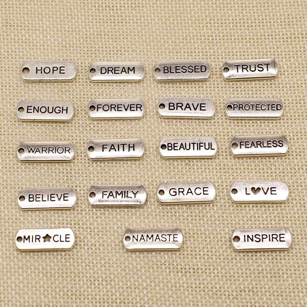 1 Piece Metal Charms For Jewelry Making Silver Plated Trust Hope Blessed Text Tag HJ150