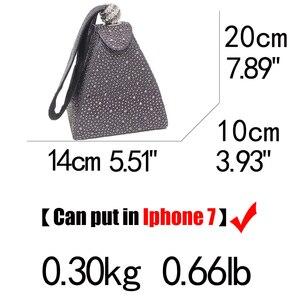 Image 5 - Vintage elmas gelin düğün çanta Mini gri piramit parti çanta kadın çantası bileklikler manşonlar kristal akşam el çantası