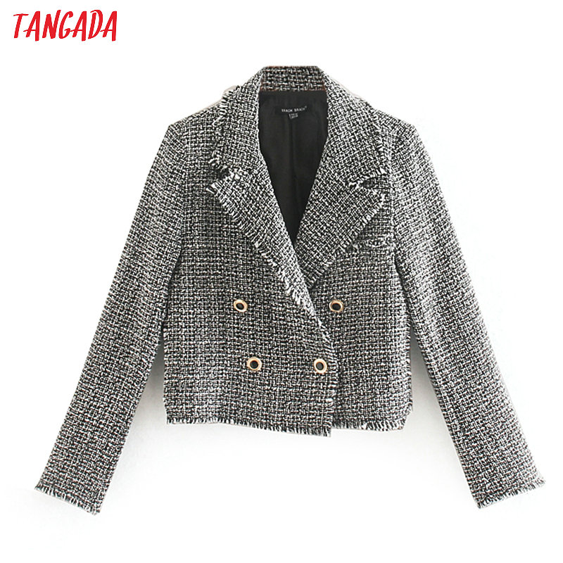 Tangada Women Retro Tassel Plaid Tweed Blazers Short Style Buttons Long Sleeve Office Lady Tops CE198