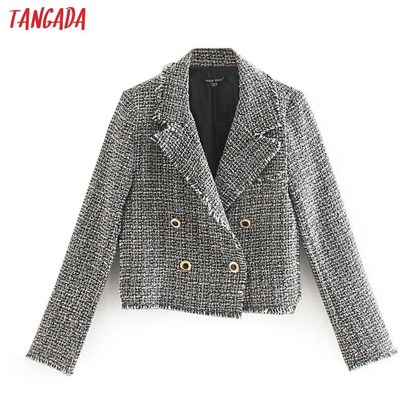 Tangada Women Retro Tassel Plaid Tweed Blazers Short Style Buttons Long Sleeve Office Lady Tops CE198