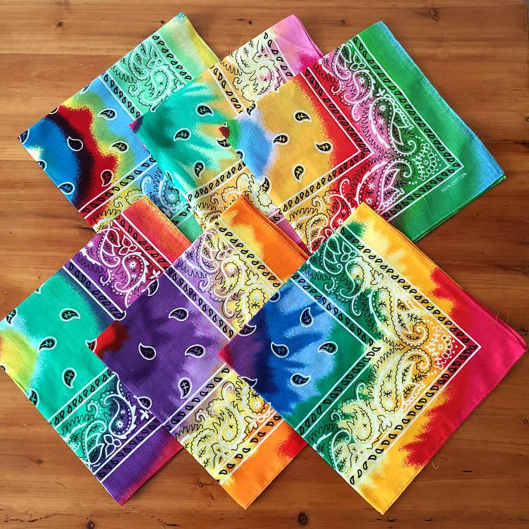 Cotton Multicolor Tie Dye Hip Hop Paisley Bandana Square Scarf Head Wrap Neck Wrist Band Handkerchief For Graffitin Women Men