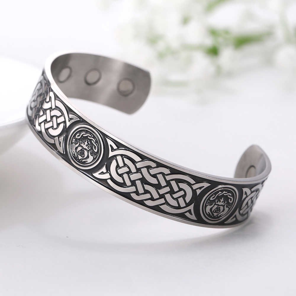 Myshape Stainless Steel Viking Bracelet Let Love and Friendship Reign Forever with Hand In Hand Magnetic Cuff Bangles Crown