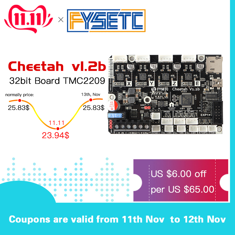 Cheetah 32bit Board TMC2209 TMC2208 Silent Control Board With Addon 24V To 12V Module For Creality CR10 Ender-3 5 Ender 3 Pro