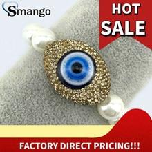 Wholesale Pearl Micro Pave Crystal Eyes Shape Charm Bracelet 5 or 10Pcs,B0133