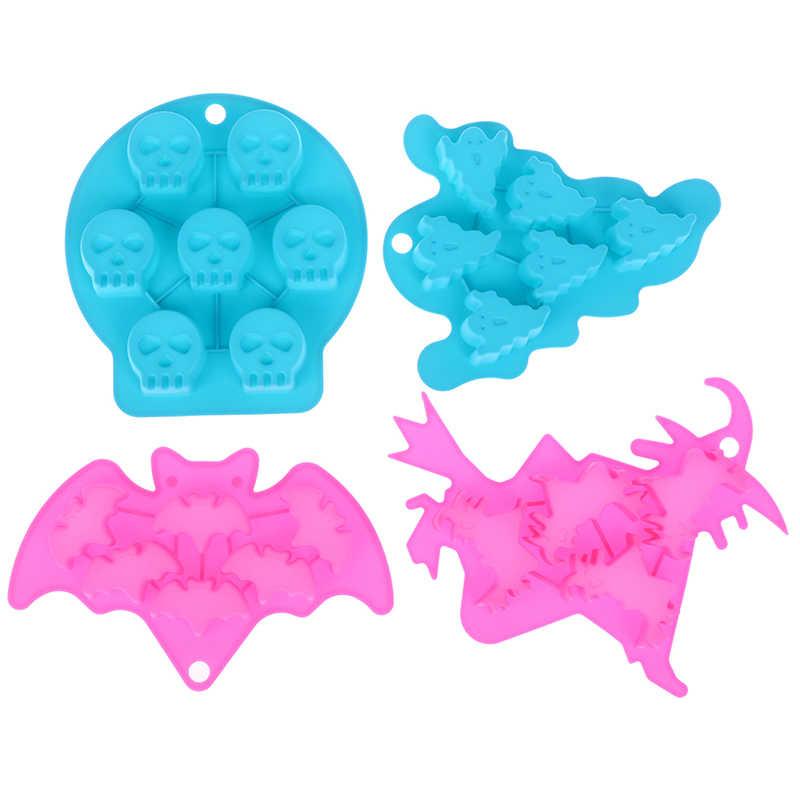 العظام شبح الخفافيش سيليكون فندان مرنة هالوين قالب الكعكة قوالب الصابون أدوات تزيين اللون Random1pc هالوين قالب الساحرة