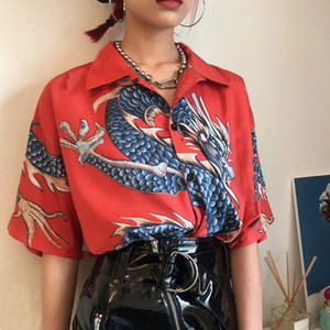 Dragon Print Blouses Women Turn Down Collar Harajuku Blouse Buttons Up Shirts Tops Casual Women Blouses Chemisier Femme