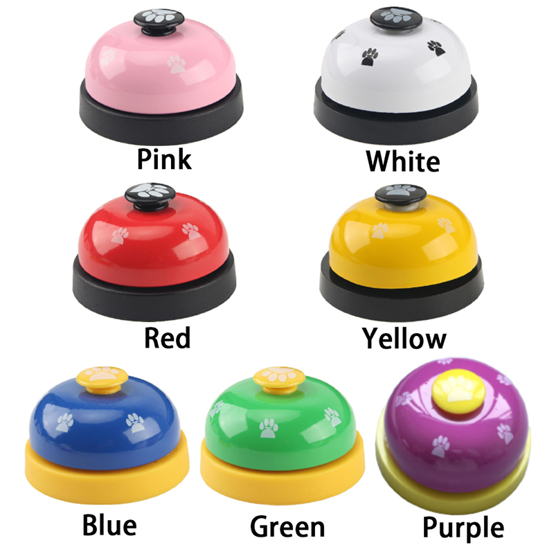 1pc Dog Training Bell Paw Print Pet Dinner Bell Dog Training Clicker Puppy Cat Dinning Call Ring Pet Training Playing Toys-2