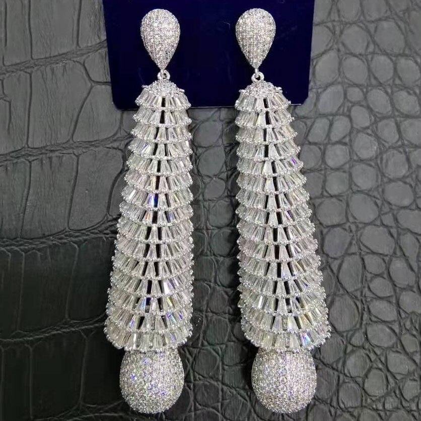 Image 3 - GODKI Luxury Baguette Cut CZ Long Earrings Full Mirco Paved Cubic  Zircon Naija Dubai Wedding Earring Fashion High End JewelryDrop  Earrings