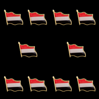 10PCS Yemen Republic Zinc Alloy Colorful Country Flag Pin Lapel Pin Badge Brooch