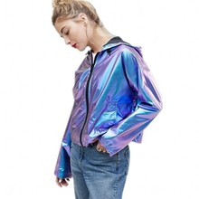 2019 Magic Color Metal Water-proof Large-size Loose Women Cap Fashion Casual Jacket Wide-waisted Jackets Coat