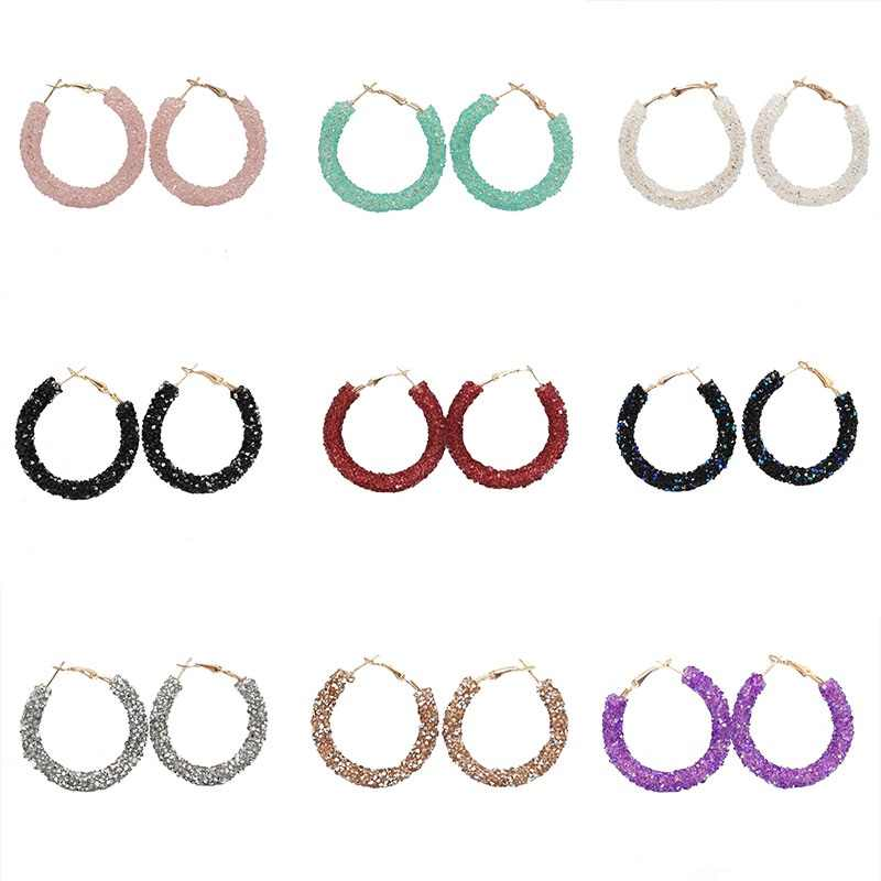 2019 New Fashion Crystal Hoop Earrings for Women Colorful Round Circle Bling Bling Earrings Wedding Party Brincos Wholesale